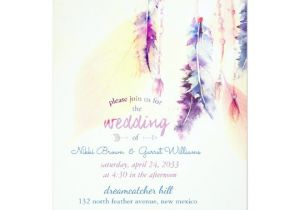 Dreamcatcher Wedding Invitations Watercolor Dreamcatcher Boho Wedding Invitation Zazzle Com