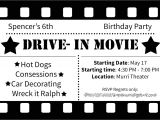 Drive In Movie Birthday Party Invitations Drive In Movie Birthday Party Ideas by Simplistically Sassy