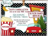 Drive In Movie Birthday Party Invitations Drive In Movie Invitation Outdoor Movie Party Invitation
