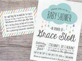 Drop In Baby Shower Invitations Rain Drop Glitter Baby Shower Invitation and Book Request Card