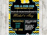 Duck Baby Shower Invitations Boy Chalkboard Yellow & Blue Rubber Duck Baby Shower