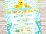 Duck Baby Shower Invitations Boy Rub A Dub Dub Baby Shower Baby Boy Invite Rubber Duck Baby