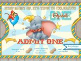 Dumbo Birthday Party Invitations Dumbo Circus Ticket Style Birthday Invitations Dumbo