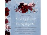 Dusty Blue and Cranberry Wedding Invitations Burgundy and Dusty Blue Floral Elegant Wedding Card