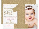 E Invites for First Birthday First Birthday Faux Gold Glitter Pink Invitation