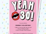 Editable 30th Birthday Invitations 30th Birthday Invitation Sassy Yeah 30 Lips Editable