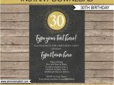 Editable 30th Birthday Invitations 30th Birthday Invitation Template Chalkboard Gold