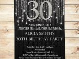 Editable 30th Birthday Invitations Black and Silver 30th Birthday Invitations Party