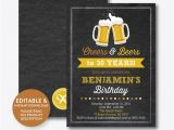Editable 30th Birthday Invitations Instant Download Editable Cheers and Beers Birthday