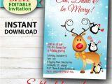 Editable Holiday Party Invitation Editable Christmas Invitation Rudolph Frost Fun Christmas