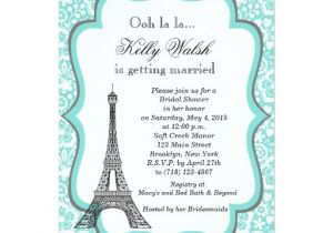 Eiffel tower Bridal Shower Invitations Eiffel tower Aqua Paris Bridal Shower Invitation Zazzle