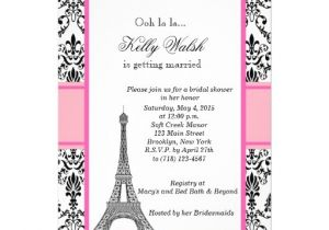 Eiffel tower Bridal Shower Invitations Eiffel tower Pink Paris Bridal Shower Invitation