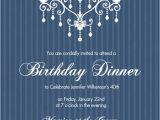 Elegant 40th Birthday Invitation Template 40th Birthday Invitations Elegant Chandelier Blue