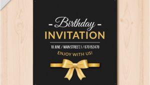 Elegant Birthday Invitation Free Template Elegant Birthday Invitation with Golden Details Vector