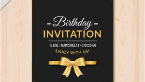 Elegant Birthday Invitation Vector Template Elegant Birthday Invitation with Golden Details Vector