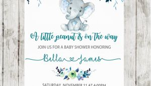 Elephant Baby Shower Invitations for Boys Elephant Baby Shower Invitations Boy Floral Teal Blue