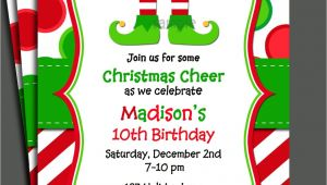 Elf Birthday Party Invitations Christmas Elf Invitation Printable Christmas Birthday