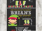 Elf Birthday Party Invitations Christmas Little Elf Boy Birthday Invitation Chalkboard