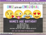 Emoji Birthday Invitation Template Emoji Invitation Template Emoji Birthday Party theme