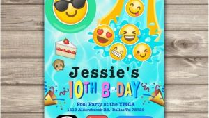 Emoji Pool Party Invitations Emoji Pool Party Birthday Invitations Swim Party Beach Pool