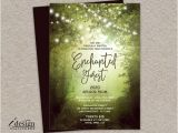 Enchanted forest themed Wedding Invitations Enchanted forest Prom Invitation with String Lights