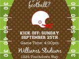End Of Football Season Party Invitation Wording Football or Tailgating Birthday Party or Shower