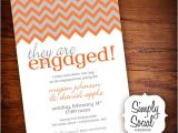 Engagement Party Invitations Etsy Items Similar to Chevron Engagement Party Invitation Grey