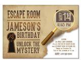 Escape Room Party Invitation Escape Room Invite Boys or Girls Birthday Invitation Gold