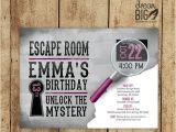 Escape Room Party Invitation Escape Room Invite Gray Girls or Boys Birthday Pink
