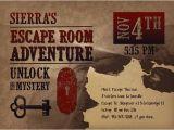 Escape Room Party Invitation Printable Printable Escape Room Party Invite Western Escape Room