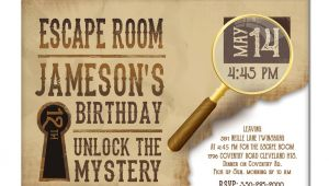 Escape Room Party Invitation Template Escape Room Invite Boys or Girls Birthday Invitation Gold