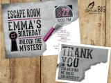 Escape Room Party Invitation Template Escape Room Invite Plus Thank You Card Option Girls or Boys