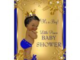 Ethnic Baby Shower Invitations Boy Ethnic Prince Boy Baby Shower Gold Blue Floral 5×7 Paper