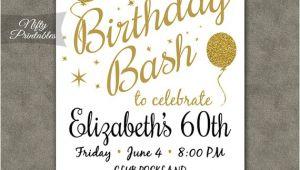 Etsy 60th Birthday Invitations 60th Birthday Invitations Printable 60 White Gold Glitter