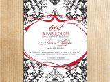 Etsy 60th Birthday Invitations Red Black Damask 60th Birthday Party Invitations Stationery