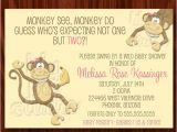 Etsy Com Baby Shower Invitations Items Similar to Twin Girls Monkey Baby Shower Invitation