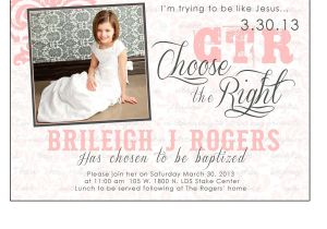 Etsy Girl Baptism Invites Girl Lds Baptism Invitation by Busybredesigns On Etsy
