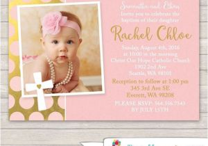Etsy Girl Baptism Invites Pink and Gold Baptism Invitation Pink by Printablecandee