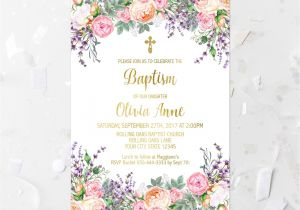 Etsy Girl Baptism Invites Pink Floral Baptism Invitation Printable Pink and Purple