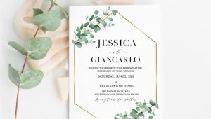 Eucalyptus Wedding Invitation Template Eucalyptus Gold Geometric Wedding Invitation Eucalyptus