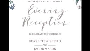 Evening Wedding Invitation Template Floral Wedding evening Reception Invite Template Stg1