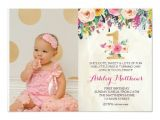 Example Of First Birthday Invitation Card 1st Birthday First Beautiful Floral Invitation Card Zazzle