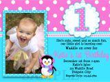 Example Of First Birthday Invitation Card Printable Birthday Invitations Girls Penguin Party
