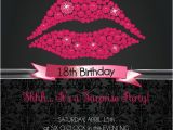 Example Of Invitation Card for 18 Birthday Pink Glitter Lips Custom Birthday Invitation 18th