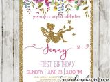 Fairy First Birthday Invitations Fairy First Birthday Invitations Pink Floral Gold Glitter