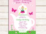 Fairy Tea Party Invitations Fairy Garden Tea Party Birthday Invitation Pink and Green