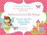 Fairy themed Birthday Invitation Free Fairy Birthday Party Invitations
