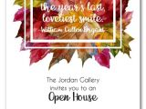 Fall Party Invites Bright Autumn Leaves Wreath Fall Party Invitations