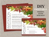 Fall Wedding Invitations and Rsvp Cards Diy Fall Wedding Invitations with Rsvp Cards Printable Fall