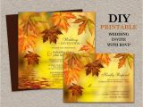 Fall Wedding Invitations and Rsvp Cards Diy Printable Fall Wedding Invitations with Rsvp Fall